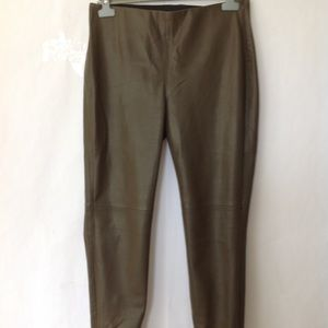 1f118dc359963 Pants | Zara Olive Green Faux Leather Trousers Xl | Poshmark